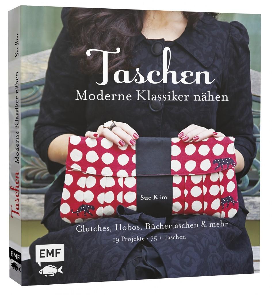 Frau mit rot-weiß-schwarzer Clutch auf Buchcover