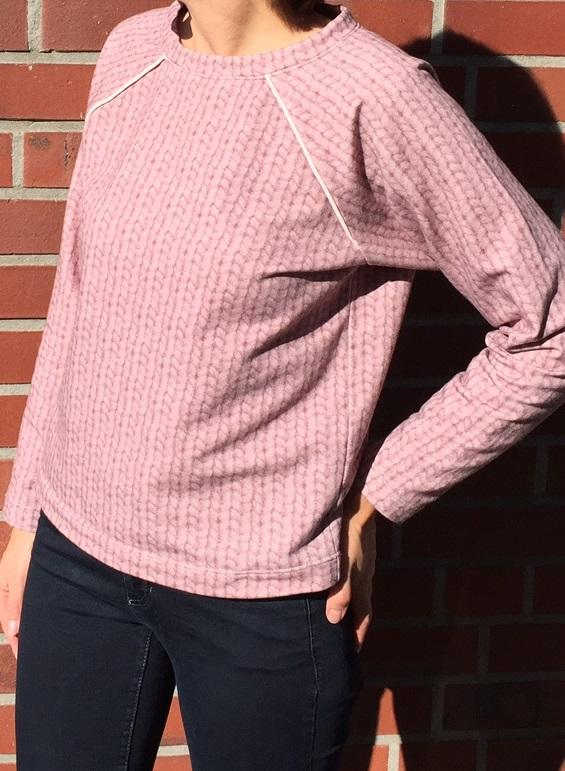 rosa Sweatshirt mit hellrosa Paspel