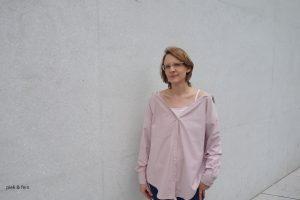 rosafarbene Offshoulder Bluse