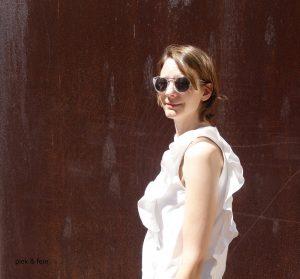 Shirt Amanda aus weißem Baumwollstoff