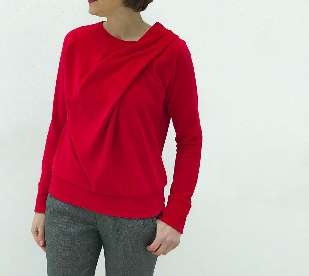 Bowline Sweater aus rotem Nickistoff