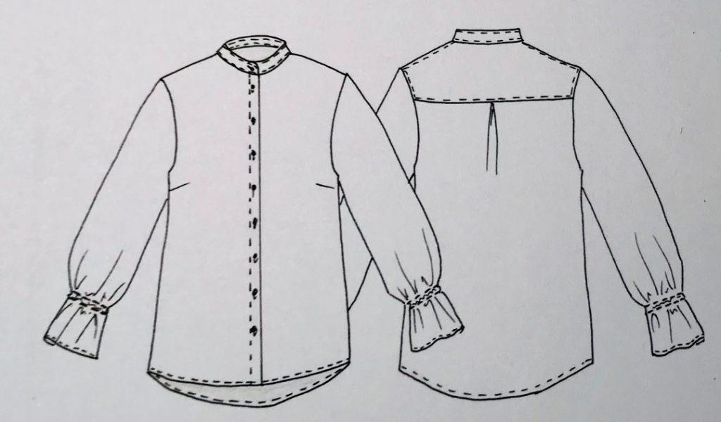 technische Zeichnung: Hemdbluse mit Rüschenärmel