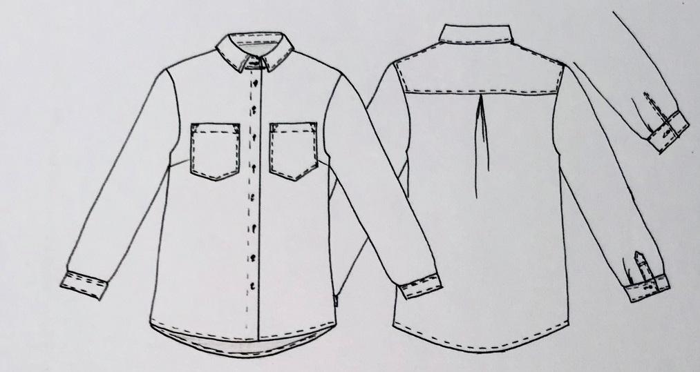 technische Zeichnung: klassische Hemdbluse