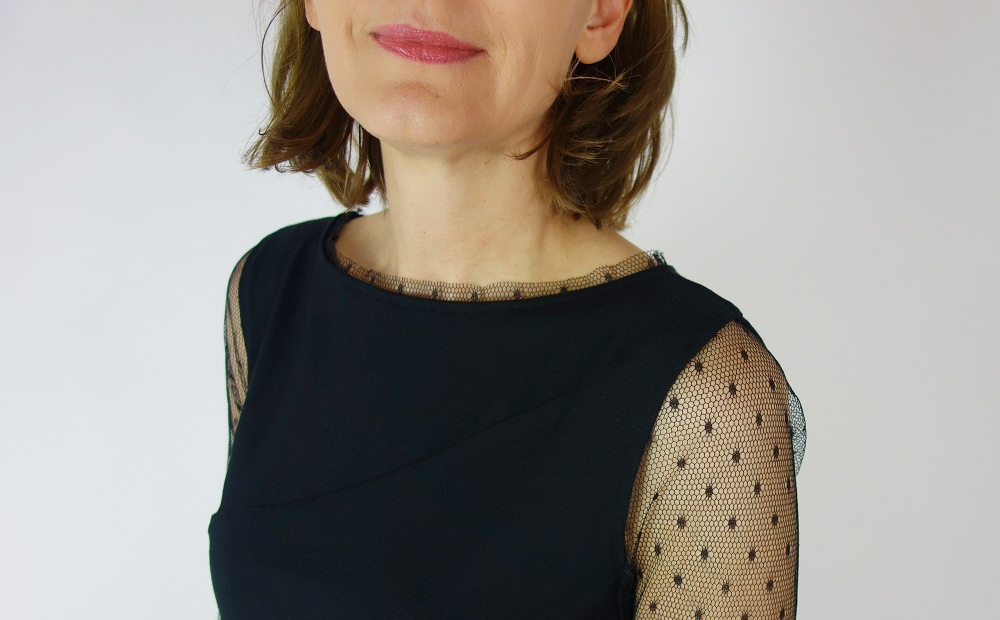 schwarzes Burdastyle Shirt mit Tüllärmeln