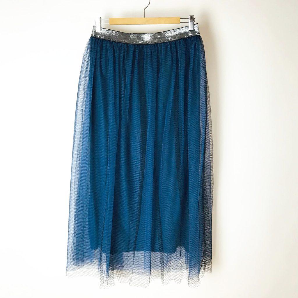 Tüllrock aus blauem Feintüll und scharzer Tüllspitze