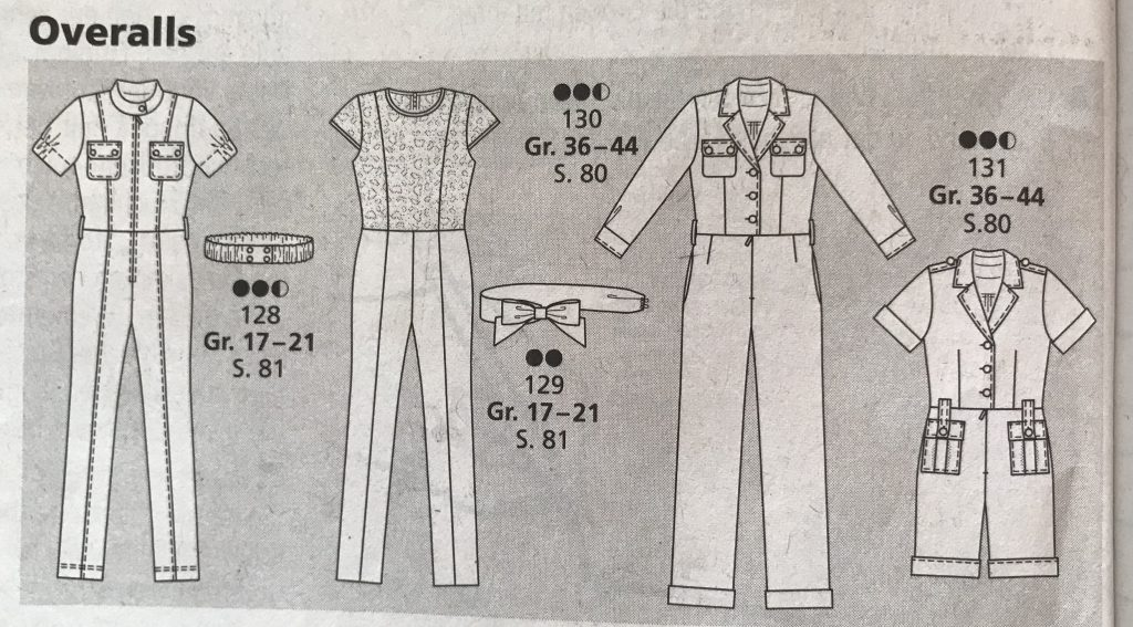 technische Zeichnung Overalls